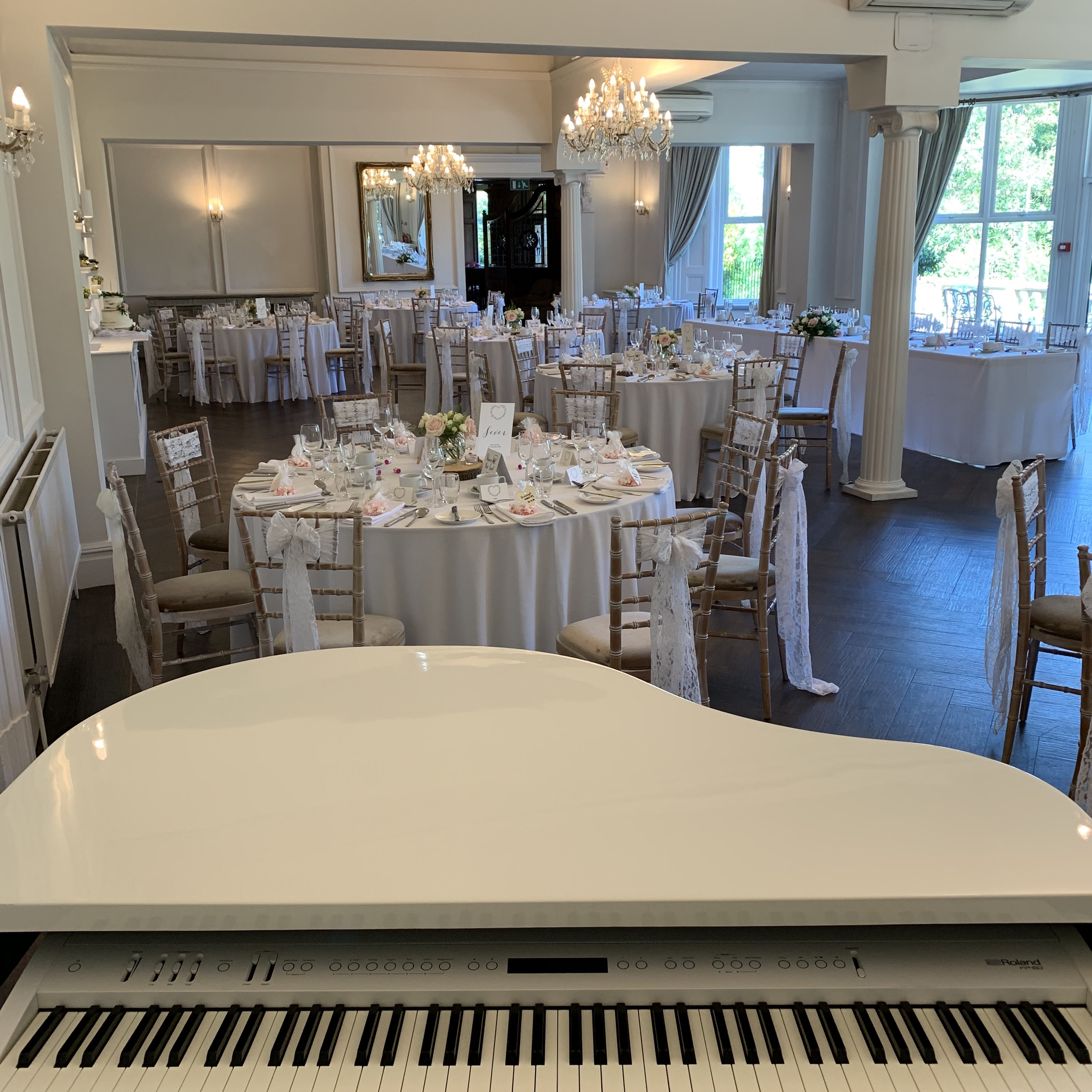 Ashfield House wedding pianist Craig Smith's set up for a wedding breakfast