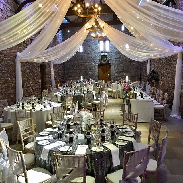 Wedding breakfast piano at Browsholme Hall tithe barn by wedding pianist Craig Smith