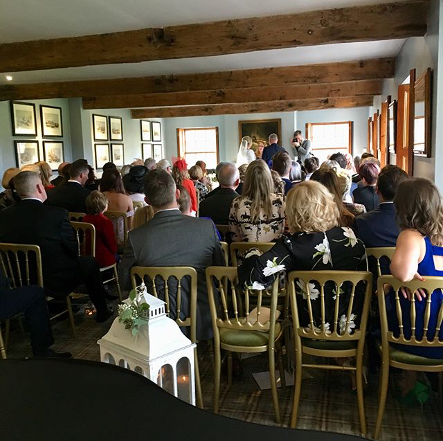 The view from the piano at Inn at Whitewell wedding ceremony