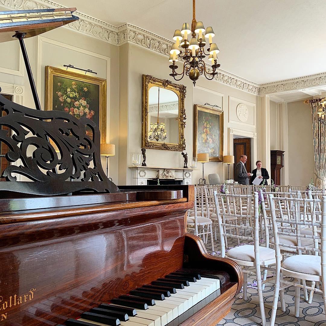 Storrs Hall wedding ceremony piano